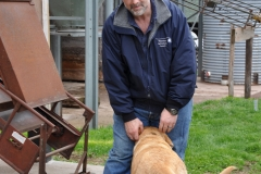 Large Farms Coordinater brian LaTourette with Ike the yellow lab